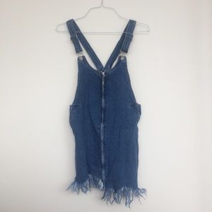 ZARA FRINGE OVERALL DRESS